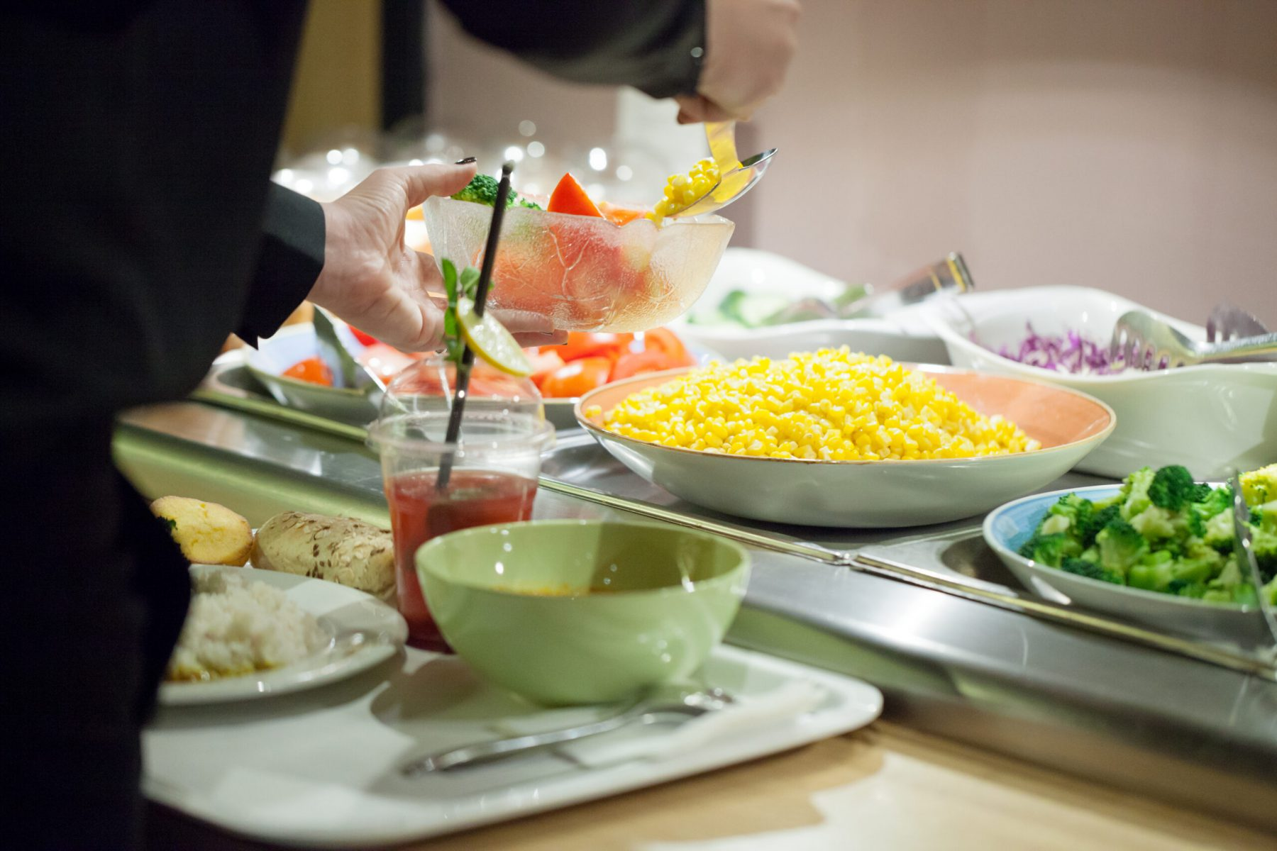 Salads at buffet table